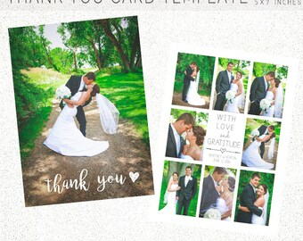 THANK YOU CARD template, Thank you, Wedding Template, Wedding Invitation, 5X7 Photoshop Template, Instant Download