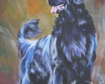 Flat Coated Retriever dog art CANVAS print of LA Shepard painting 8x10
