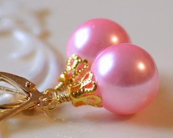 Candy Pink Glass Pearl Earrings, Christmas Balls, Gold Plated Lever Earwires, Fun Holiday Jewelry