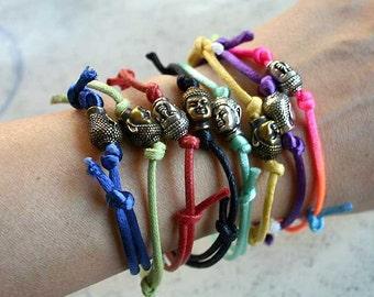 SALE Buddha Head Satin or Cotton Vegan Bracelet Wrap Yoga Jewelry Antiqued Silver