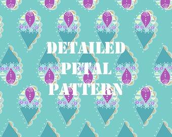 Blue Detailed Petal Pattern Digital Paper