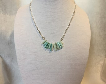 Pale Blue Mother of Pearl Stick Bead Necklace