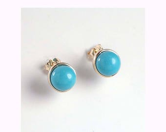 14k Solid Yellow Gold Turquoise Stud Earrings 7mm    E382