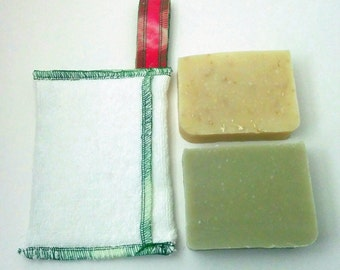 Zero waste Soap Savers and 2 soaps by Aquarian Bath - Christmas gift set - towel - washcloth set - No Palm oil- vegan- unique design