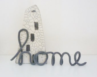 Wire word Home crochet letters typography word Home Housewarming gift crochet word wire french knit word