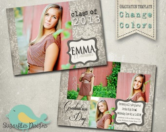 Graduation Announcement PHOTOSHOP TEMPLATE - Senior Graduation 6