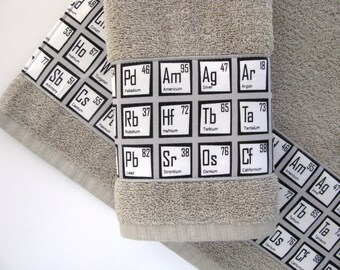 Periodic table, towels, Periodic Table towels, geek towels, science, custom towels, bathroom, august ave, chemistry, gift