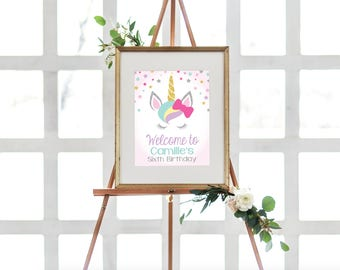 "INSTANT DOWNLOAD - Unicorn Welcome Sign Printable, Unicorn Editable Welcome Sign - Birthday Sign, Welcome Sign, 8x10"" OLDP10"