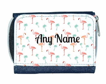Personalised Girls/Ladies Denim Purse With Pink Flamingo/Flamingos