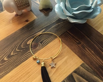 Adjustable Black Tassel Bangle with Star Charm