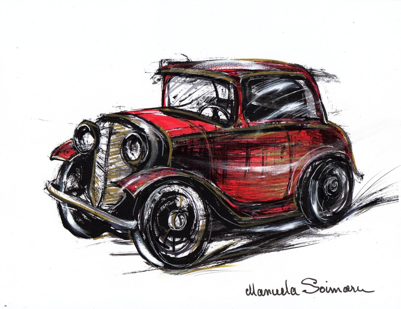 Oldtimer-Illustration Zeichnung Original Kunstdruck Auto