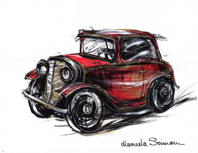 Classic Car Illustration Drawing Original Art Print Car