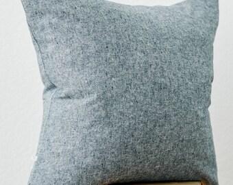 Linen Cotton Pillow Cover in Heathered Indigo
