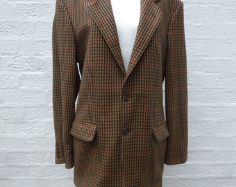 Mens cashmere jacket wool clothing 1970s jacket houndstooth clothes vintage cashmere blazer country brown clothes 70s blazer winter jacket,