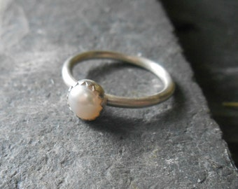 Pearl ring, sterling silver ring, June birthstone or Mother's stacking ring,  dainty pearl ring