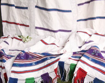 D 33 :  antique TABLECLOTH coverlet upholstery fabric classy and elegant PALE color and red blue purple ornaments