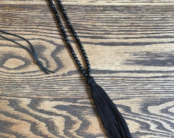 The Lynda -beaded with leather and cotton tassel