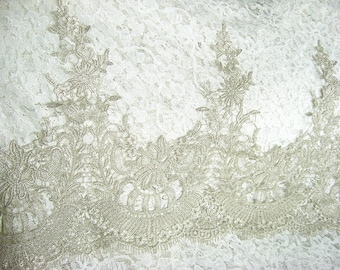 Metallic silver Lace Trim, retro silver scalloped lace, vintage lace trim, Antique Lace Trim