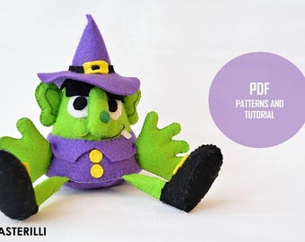 Halloween witch stuffed toy PDF sewing pattern and tutorial