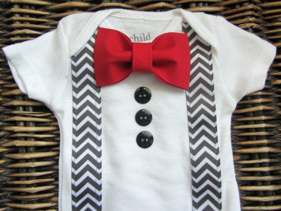 Baby boy clothes baby tuxedo bodysuit red bow tie grey for Baby shirt and bow tie