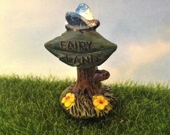 Fairy Land Miniature Sign, Fairy Garden Accessory