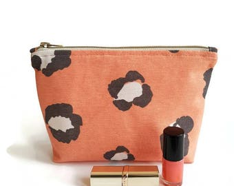 Makeup bag coral red, Makeuptasje ladies, zippered pouch, make up bag coral, cosmetic bag, gift idea, big pouch, giveaways, purse.