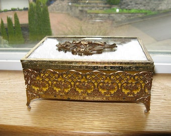 Hollywood Regency style Vintage Vanity Jewelry Casket, Jewelry Box, Possibly Matson? Unique From the 50's or 60's