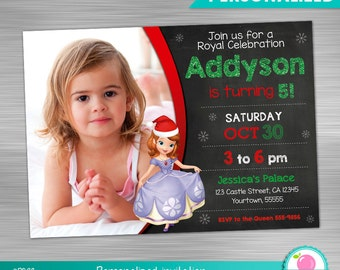 Sofia the First Christmas Birthday invitation Print Yourself, Princess Sofia Santa Cap invitation DIY