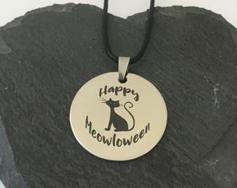Happy meowloween necklace / Halloween jewellery / Halloween gift / cat jewellery / animal jewellery / animal lover gift