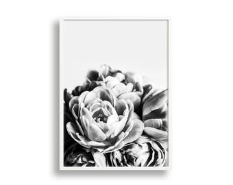 Monochrome Tulips Print, Black & White, Photographic Botanical Flower Wall Art Print, Floral Art