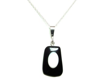 Onyx and Opal sterling silver pendant with chain