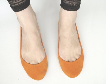 Tangerine Soft Suede Handmade Ballet Flats and Pointy Cyclamen Handmade Ballet Flats Ballerine - Reserved for Libby