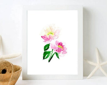 Peonies Wall Art - Framed Floral Wall Art, Pink Peony Watercolor Painting, Framed Prints, Framed Floral Art, Fixer Upper Style, Botanical