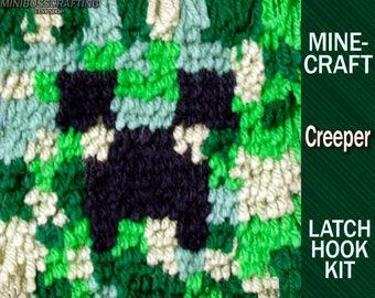 Minecraft Creeper Face - Latch Hook Kit - DIY Latch Hook Rug 5.5*5.5 OR 11*11
