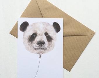 Mini Panda Balloon Card -- Thank You / Greetings Card