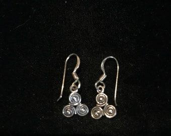 Vintage swirl design sterling silver earrings.