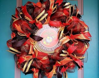 USMC Wreath, Marine Corps Wreath, Military Wreath, USMC Deco Mesh Wreath, Veterans Wreath, Patriotic Wreath, Gift For Him, Gift For Her.