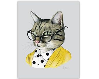 Tabby Cat art print - 8x10 - Pet Portrait - Animals in Clothes - Animal Art - Ryan Berkley Illustration - Dapper Animals - Gift For Her