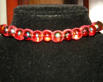 Ankle Bracelet, Beaded, Anklet, Red, Hemp, Macrame, Boho, Hippie, Beach, Surfer, Natural, Glass Beads
