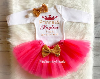 Princess Has Arrived Outfit / Baby Girl Take Home Outfit / Baby Girl Announcement Outfit / Personalized / Baby Girl Hospital Outfit