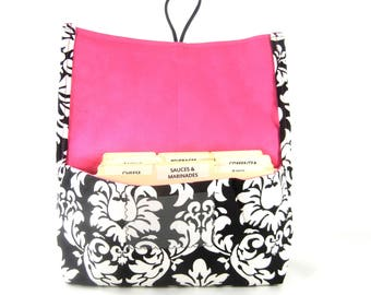 Coupon Organizer Holder Damask Fabric Black and White with Pink Lining