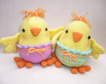 Chelsea and Charlie Chick, Boy and Girl Easter Spring Chicks - Amigurumi Crochet Pattern