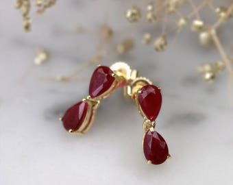 Natural Ruby Teardrop Chandelier Earrings | Solid 14K Gold | Prong Setting |Fine Jewelry | Free Shipping