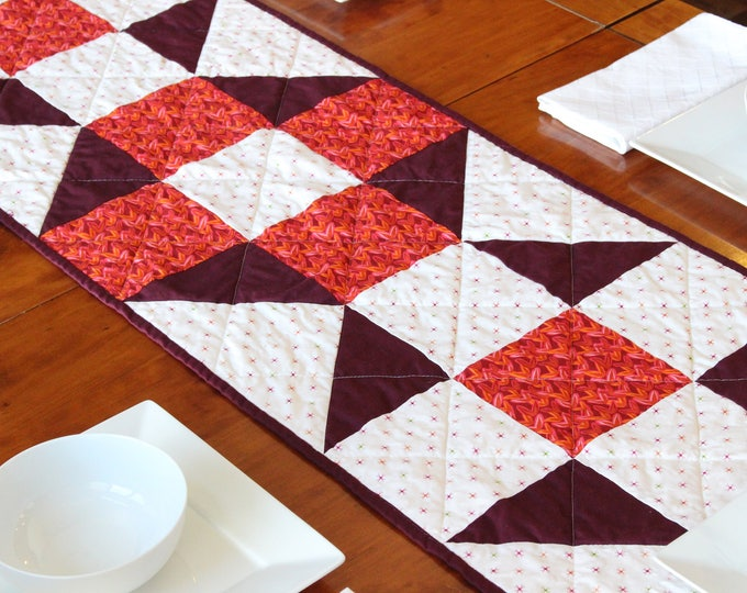 Burgundy Quilted Patchwork Table Runner