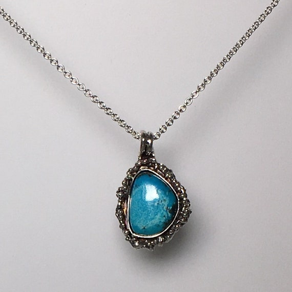 Turquoise Pendant \ Turquoise Necklace \ Sterling Silver Pendant\ Gemstone Necklace\ Silver Necklace \ Moms Gift