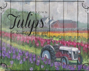 Tractoring through tulips, landscape, flower fields, tulips, tractor art