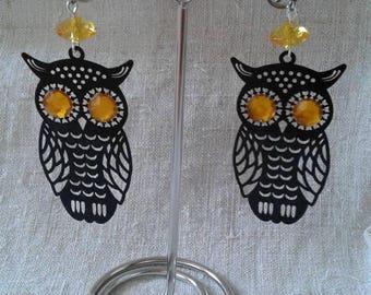 black and yellow OWL earrings