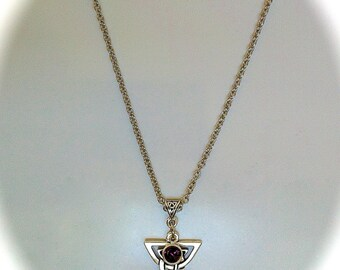 Celtic Triquetra Necklace Birthstone Jewelry Pendant Leather Choker Swarovski Amethyst Crystal Irish Jewelry, Sister Friendship Jewelry