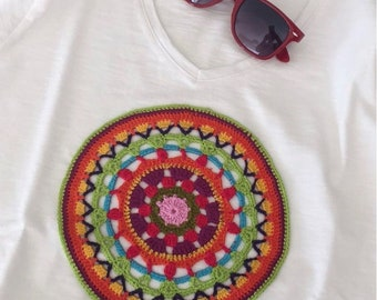 T-shirt mandala white colorful womenswear design handmade crochet cotton