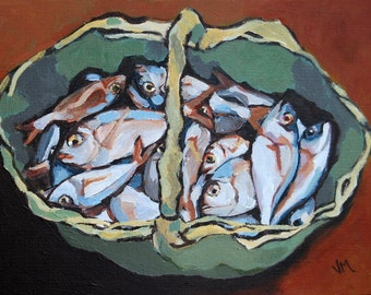Acrylic Painting Original Artwork Fish Basket Still life